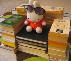 miffy kicks back in her bibliochair - by Rakka