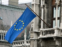 European flag flying; Budapest Parliament