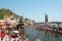 Haridwar Har Ki pauri ghats and tower from the bridge (Anoop Negi) Tags: world travel girls portrait people india color colour men girl festival photography for photo amazing women essay media place image photos gorgeous delhi indian bangalore creative picture culture traditions images best exotic human photograph hues journey po uttaranchal tradition mumbai anoop journalism ganga  ganges negi rishikesh haridwar ndia harkipauri photosof  ezee123  httpezee123livejournalcom bestphotographer   imagesof anoopnegi   jjournalism     n