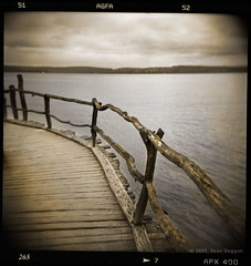The Path Over the Water (Sen Duggan) Tags: bridge lake film archaeology water germany square wooden holga path platform explore journey walkway toned bodensee prehistoric tinted lakeofconstance pfahlbauten overwater unteruhldingen betweenhereandthere lakedwelling mysteriousplaces