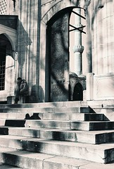 Stairs and Shadows (fiat.luxury) Tags: shadow man stairs turkey minaret istanbul mosque yenicami newmosque