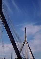 Leonard P. Zakim Bunker Hill Bridge - 4 (Mrs. Terry) Tags: blue boston ma bridges abstracts leonardpzakimbunkerhillbridge flickrific