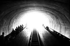 Into the Great Wide Open (Hoffmann) Tags: blackandwhite bw washingtondc dc washington d70 metro nikond70 escalator tunnel dcist dupontcircle metrorail dupontcirclestation nikonstunninggallery