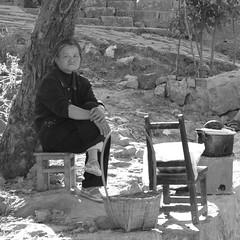Calm (Snow Kisses Sky) Tags: old people bw rural nikon village ben chinese documentary 1870mmf3545g yunnan nikkor granny jianshui tuanshan