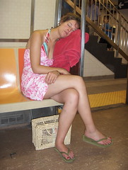 Enjoying Summer While It Lasts (Joe Shlabotnik) Tags: 2005 nyc sleeping beach subway september2005 queens asleep faved explored
