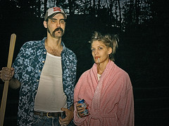 The New American Gothic (wiseacre photo) Tags: portrait beer face outside interestingness cigarette moustache toothpick wife wiseacre shovel bathrobe whitetrash hick paularmstrong