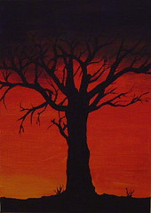 Until the new day (Tiddilywinks) Tags: trees sunset nature fun acrylic paintings creative canvas impromtu