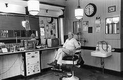 artsbarbershop (chuckp) Tags: blackandwhite wisconsin portraits barbershop madison barber leicam2 scanfromprint williamsonstreet 10best 50int backporchpilot oldsilver