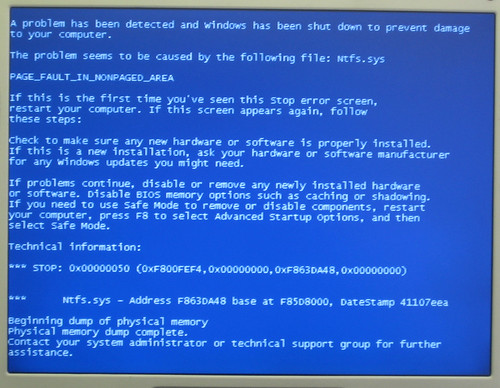 Ntfs Sys Blue Screen
