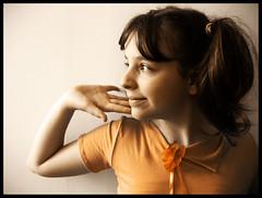 Sunny Susanna (mivella) Tags: family portrait orange flower color girl face look geotagged eyes niece badge mivella filtr zuzia