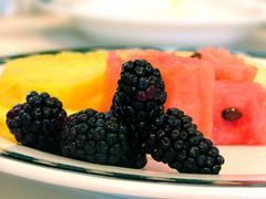 Healthy Dessert (JoshuaDavisPhotography) Tags: food fruit dessert dof blackberry plate welcome watermellon criticism criticismwelcome pinelope