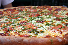 The Bronx Pizza (cheezemaster) Tags: california food cheese dinner blog yum sandiego herbs pics eating tasty broccoli fresh meat pizza delicious foodporn meal basil carbs supper thebronx tomatos munch pesto savory munchies greasy pepperoni hillcrest iatethis oozing delish foodblog sodamngood ohgod whatwereeating cybercrap