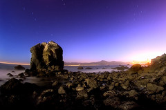 Seal Rocks Beach (ec808x) Tags: sanfrancisco longexposure nightphotography seascape beach night d50 stars nikon rocks fisheye moonlit bayarea moonlight sanfranciscobay startrails 105mmf28 sealrocksbeach