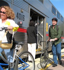 Cyclists disembark Caltrain at Palo Alto Station on Bike To Work Day