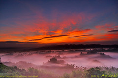 Er-Liao after ChanChu (antonio_papago) Tags: light red color 20d fog clouds digital sunrise canon landscape taiwan tainan dslr sigma1020mm