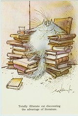 Totally illiterate cat discovering the advantage of literature (Jan Tonnesen) Tags: cats illustration cat ronald book drawing cartoon books literature illiterate literacy searle ronaldsearle