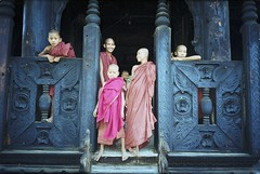 pairs (birdcage) Tags: temple burma monks pentaxk1000 mandalay youngmonks