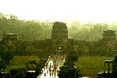 drenched (Farl) Tags: travel storm heritage monument wet colors rain stone temple gate cambodge cambodia khmer religion culture buddhism angkorwat tourists unesco siemreap angkor wat umbrellas hinduism downpour kampuchea bluelist