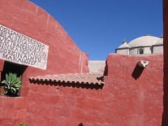 Green Plant, Red Wall, Blue Sky (Firgs) Tags: peru monastery arequipa santacatalina