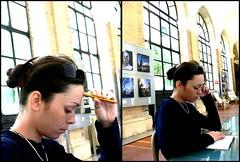 Trying to study (Eugenia Moira Angela Darling) Tags: portrait people rome roma studio study studying matita marti bibliotecadellorologio
