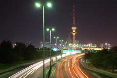 The Road to Kuwait City (Cajie) Tags: tower night d70 kuwait liberation nikonstunninggallery