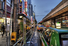 Akihabara night taxi (Camera Freak) Tags: road street city bridge urban japan night tokyo asia neon taxi akihabara d200 hdr photomatix nikond200 tonemapped tonemapping 5xp
