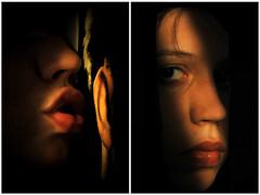 Conscience (Violator3) Tags: sunset red selfportrait colour topf25 1025fav mouth nikon whisper darkness d70s 100v10f womenonly scorpio violator3 ear conceptual chiaroscuro nopostprocessing conscience recomposition dittico stranomaveroognitantoincameramialaluceentraedanchebella vediamochiindovinadichilorecchio