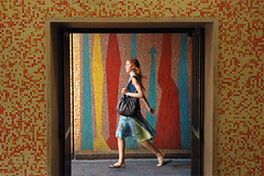 Vie di fuga (xkio) Tags: roma rome italy mosaic girl redhead passing movement motion walking walk doorway pursuit purse colors arrows life pixel fotodelmese200608romamor