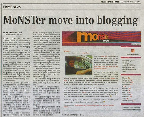 Monsterblog in the papers