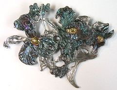 Fine silver orchid brooch with 22k gold accents and Liver of Sulfur patina - front (MSchindel) Tags: pin brooch pmc preciousmetalclay keumboo finesilver metalclay kumboo