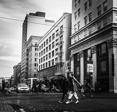 Chilly Crossing (TMimages PDX) Tags: iphoneography photography image photo photograph streetscene fineartphotography geotagged people urban city street streetphotography portland pacificnorthwest sidewalk pedestrians buildings avenue road blackandwhite monochrome vignette