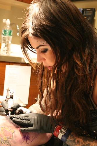 Kat Von D of Miami Ink @ Kings Avenue Tattoo, Massapequa NY