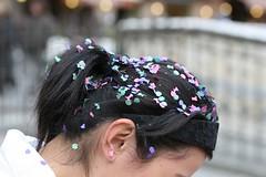 Confetti hair. Piazza del Campo.