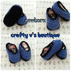 crochet newborn shoes (crafty v's boutique) Tags: blue baby black boys photoshoot crochet cotton newborn