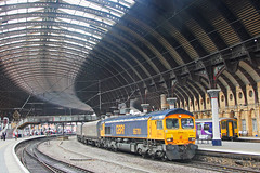 Shed under a Roof (96tommy) Tags: york uk roof england station train photography photo diesel britain united great transport traction engine rail railway kingdom 66 class 150 transportation gb locomotive coal northern freight gbrf 66701 europorte