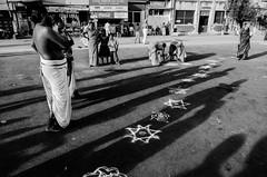 Kolam trail (1/4th) Tags: street india monochrome temple nikon shadows religion wideangle tokina ritual chennai hinduism tamilnadu kolam hindufestival cwc streetshadows aadi  triplicane narasimhatemple thiruvallikeni parthasarathytemple  hinduritual therthiruvizha 1116mm d7000 tokina1116mmf28  chennaiweekendclickers  triplicanetemplecarfestival   kolamtrail arulmiguparthasarathyswamytemple cwc456