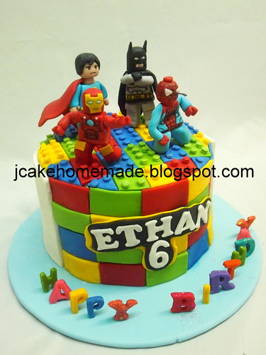 Super Lego Superhero Birthday Cake A Photo On Flickriver Birthday Cards Printable Riciscafe Filternl