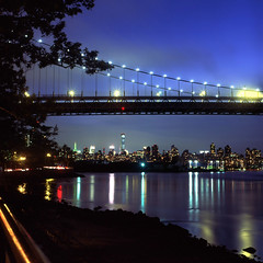 Astoria Park (Rafakoy) Tags: park city nyc longexposure bridge original urban ny newyork color film colors skyline night mediumformat reflections river lights cityscape manhattan slide scan queens velvia eastriver astoria positive expired e6 rfk astoriapark 80mm triborobridge triboroughbridge yashinon yashicamatem fujichromevelvia yashinon80mmf35 robertfkennedybridge epsonv600 epsonperfectionv600