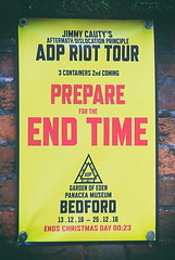 Prepare (6079 Jones, P) Tags: jimmy cauty adp aftermath dislocation principle adp1 adp2 adp3 panacea society museum bedford bedfordshire england castle road poster canon eos 1200d canonef1855mm apocalypse newnham sign img5687a nik analog efex end time garden eden