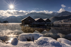Kochelsee (MC-80) Tags: kochelsee bootshaus boathouse snow herzogstand outdoor himmel wolke landschaft berg