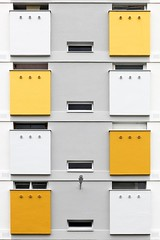 Boites Postales (Eric Dufour photographies) Tags: boites postales poste wall facade graphics graphism building architecture symmetry yellow white shapes urban urbanities