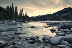 Elbow River Sunset (John Andersen (JPAndersen images)) Tags: alberta boulders chinook clouds highway66 kananaskis longexposure mountains road sign sunset weather