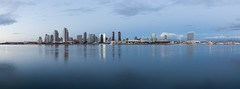 San Diego Skyline (russellstreet) Tags: reflection california unitedstatesofamerica panorama sandiego sandiegoskyline usa