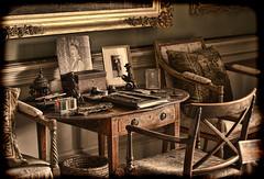 Calke Abbey (radleyfreak) Tags: derbyshire nationaltrust nt desk chair queen photograph painting drawer letteropener pen ink writingbox paper cushion inkwell candlestick calke abbey calkeabbey
