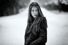 Flurry of Feelings (fehlfarben_bine) Tags: nikondf nikon850mmf14 portrait winter snowing windy woman monochrome mood road