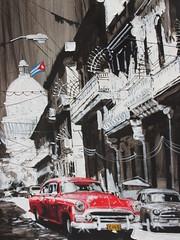 Havana Car Scene, Cuban Painting (shaire productions) Tags: travel pic picture photo photography image imagery cuba cuban art artwork classic retro vintage car street scene artistic city urban