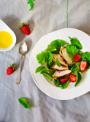 green salad with chicken and strawberry (Zoryanchik) Tags: red food white green chicken leaves lunch salad healthy mixed strawberry berry raw dish natural background strawberries tasty plate fresh meat gourmet delicious homemade snack meal appetizer organic diet grilled herb ingredient