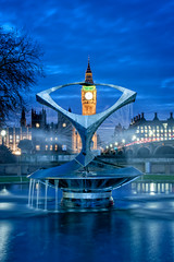 Time in Blue (Simon-Leigh) Tags: nikon d700 london bigben fountain blue reflection westminster