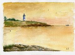 Au bord de la mer (ybipbip) Tags: aquarell aquarela acquerello acuarela akvarel paint painting pintura peinture paysage landscape watercolor watercolour sea seascape mer mare