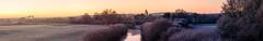 Lippe-Panorama an einem Wintermorgen (webpinsel) Tags: flaesheim fluss halternamsee kirche lippe morgenstimmung natur panorama schleuse sonnenaufgang winter
